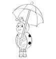 Ladybug with umbrella contour vector image vector image