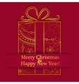 Merry Christmas card on paper with gift vector image