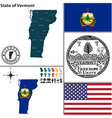 Map of Vermont with seal vector image
