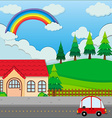 Red car on the road and a house vector image