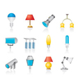 different kind of lighting equipment vector image