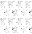 Seamless pattern of running beagle on white vector image
