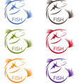 abstract design stickers set of the fish vector image