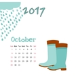 Calendar October 2017 Template Week vector image