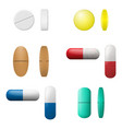 Different pills and capsules set pharmacy drugs vector image