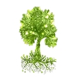 Fairy hand drawn green tree vector image