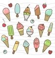 icon set of yummy colored ice cream vector image