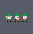 pixel art three cute gnomes vector image