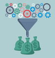 profit and investment concept gears falling into vector image