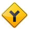 road yellow sign on white background road traffic vector image