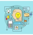 Thin line concept with flat business icons vector image