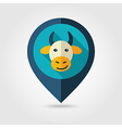 Cow flat pin map icon Animal head vector image
