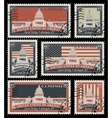 stamps with the image of the US Capitol vector image vector image