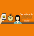 taxi online order banner horizontal concept vector image vector image