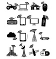 wireless network icons set vector image
