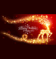 christmas card with shiny magic deer vector image