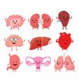 cute smiling happy human healthy strong organs set vector image