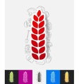 ears of wheat paper sticker with hand drawn vector image