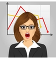 emotional crying businesswoman in economic crisis vector image