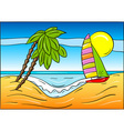 summer beach with palm and sailboat vector image