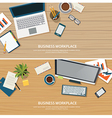 top view office workplace on wood table vector image
