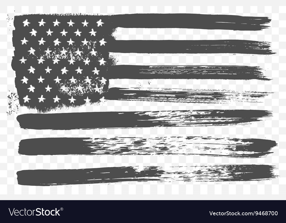 American national flag in black and white grunge vector