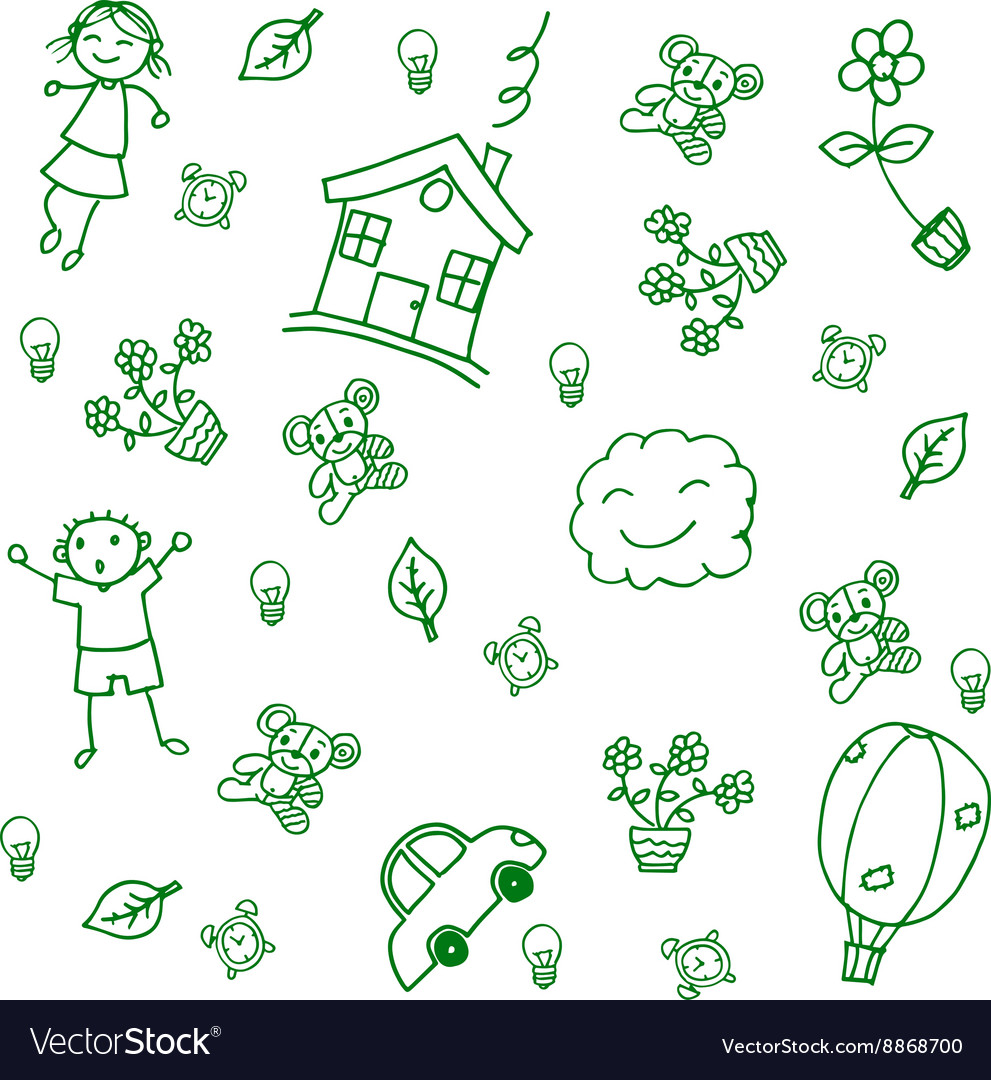 Child drawing home doodle art vector