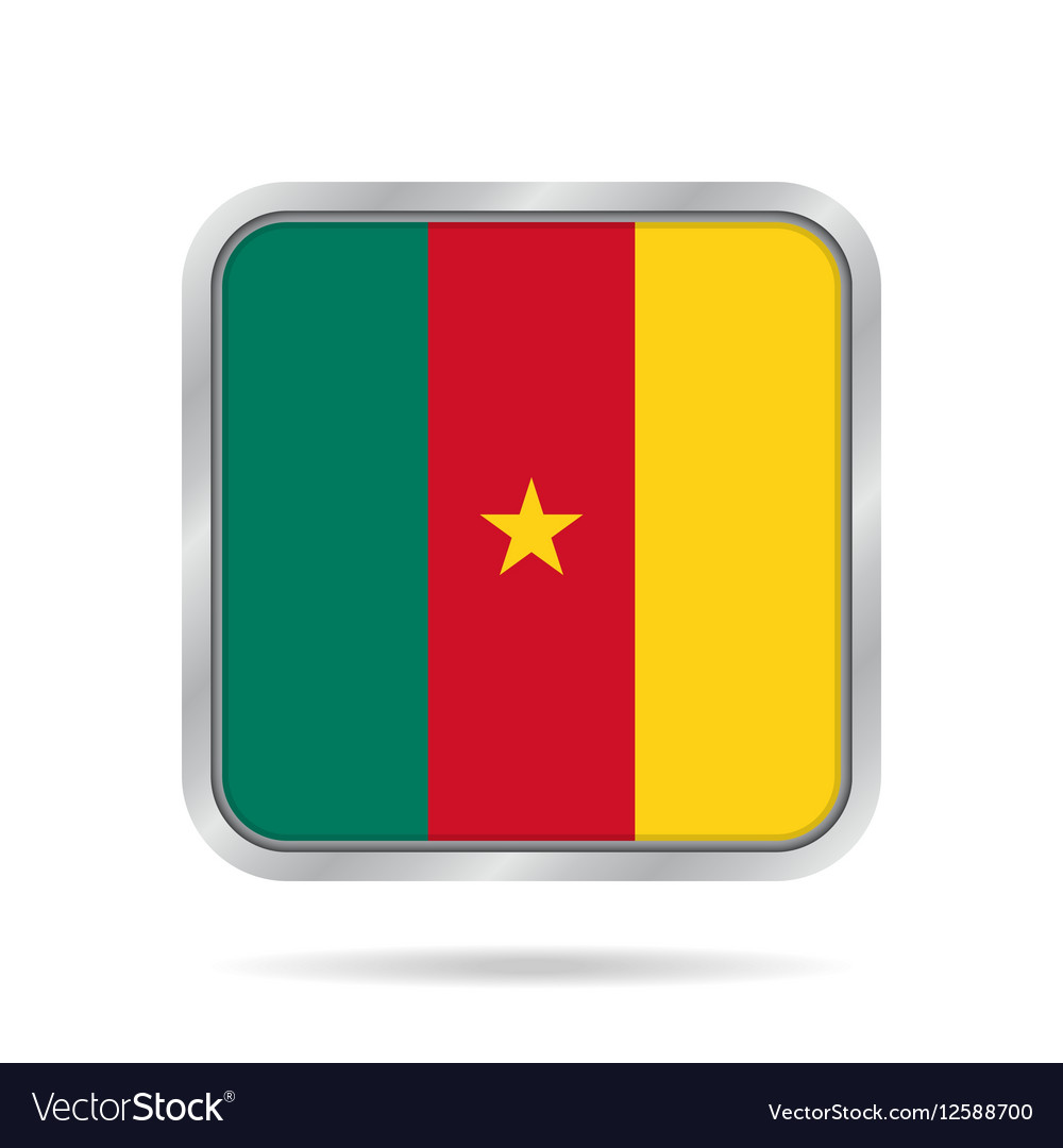 Flag of cameroon metallic gray square button vector