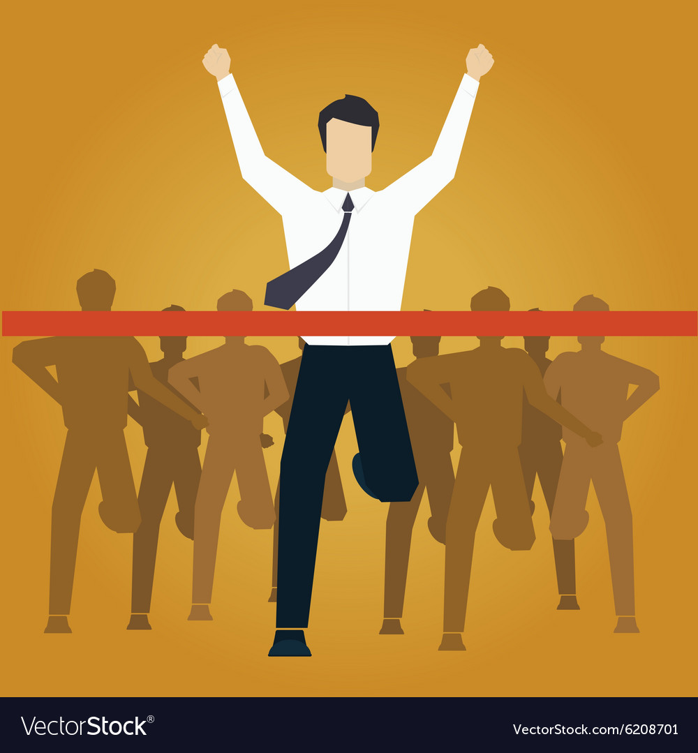 Running businessman crossing finish line vector