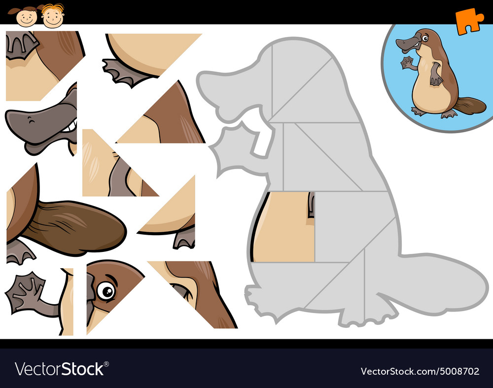 Cartoon platypus jigsaw puzzle game vector