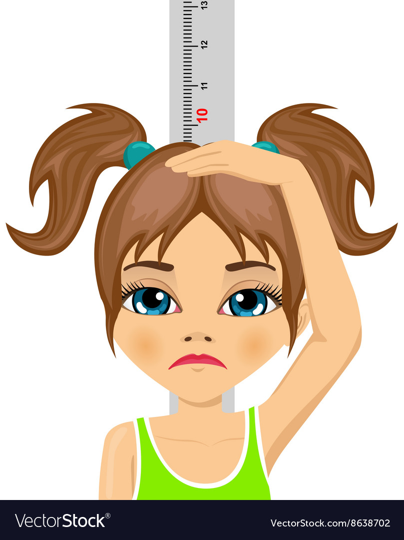 Unhappy little girl measuring her growth in height vector