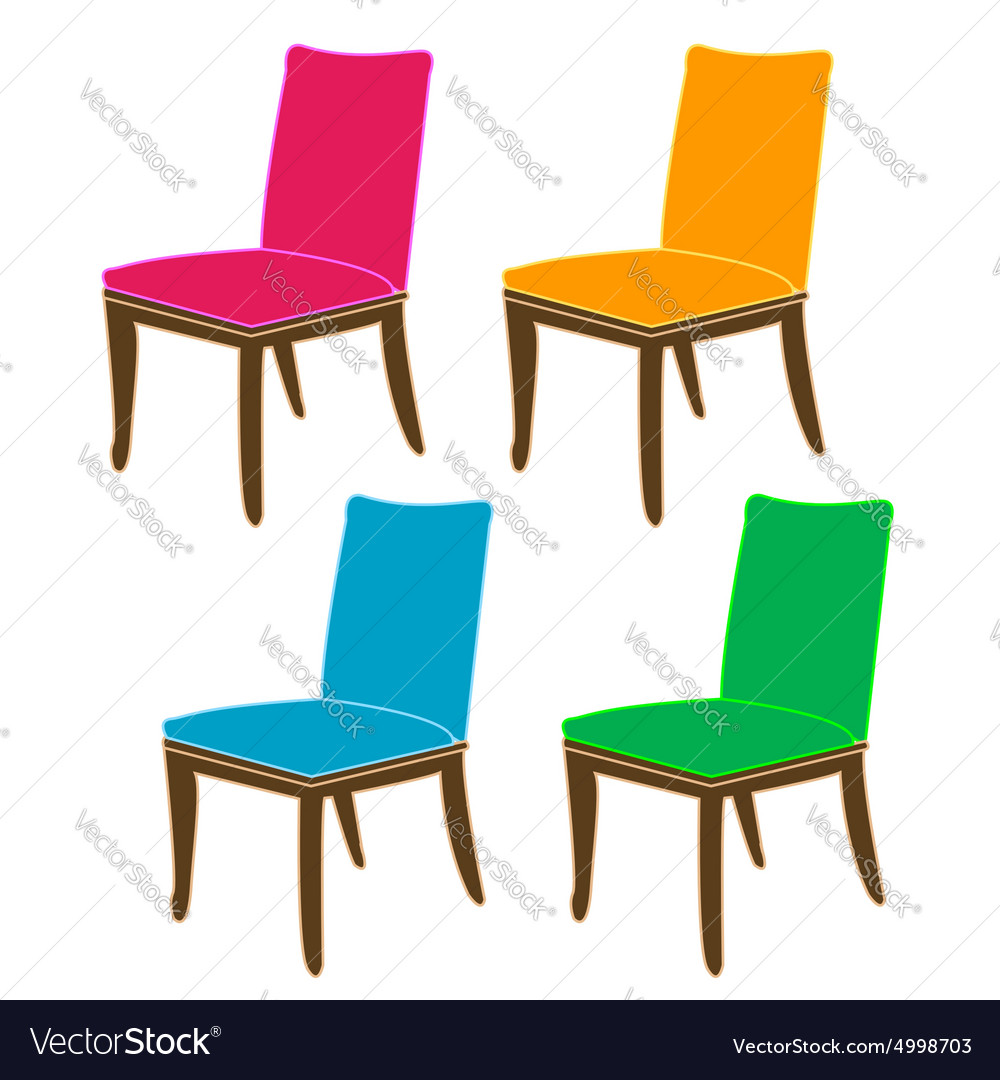Colorful dining chairs on a white background vector
