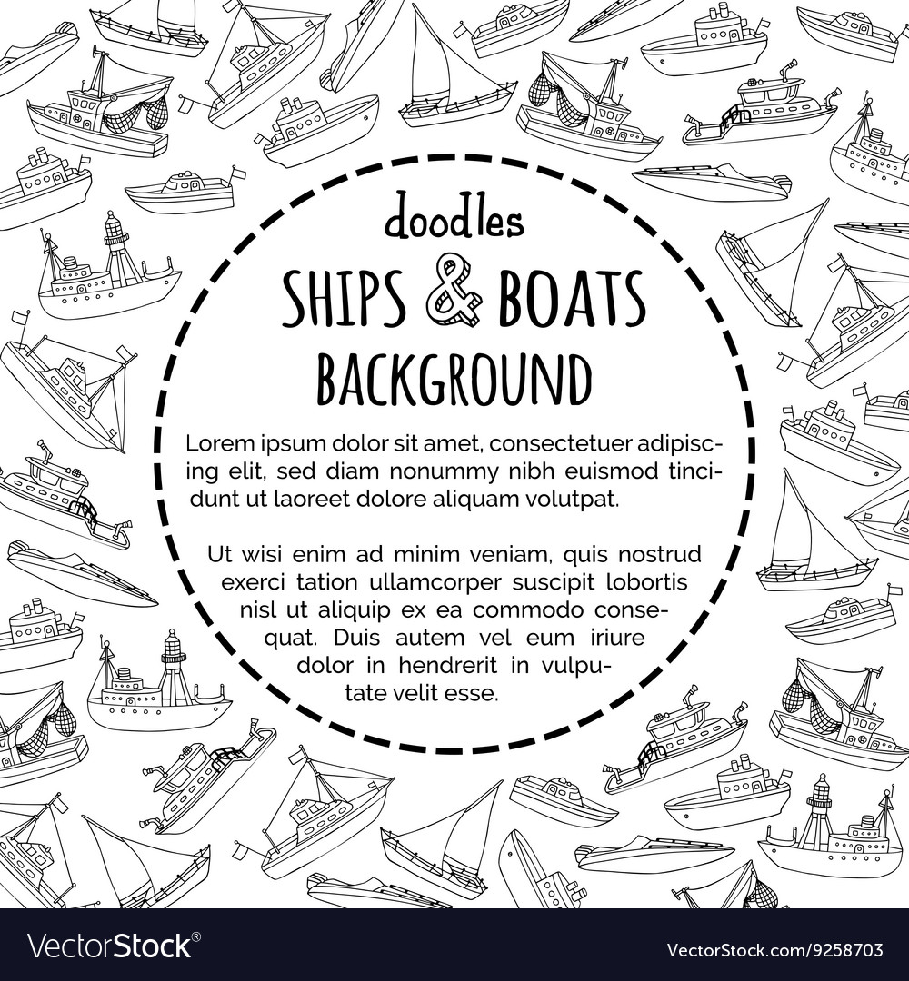 Doodles ships and boats background vector
