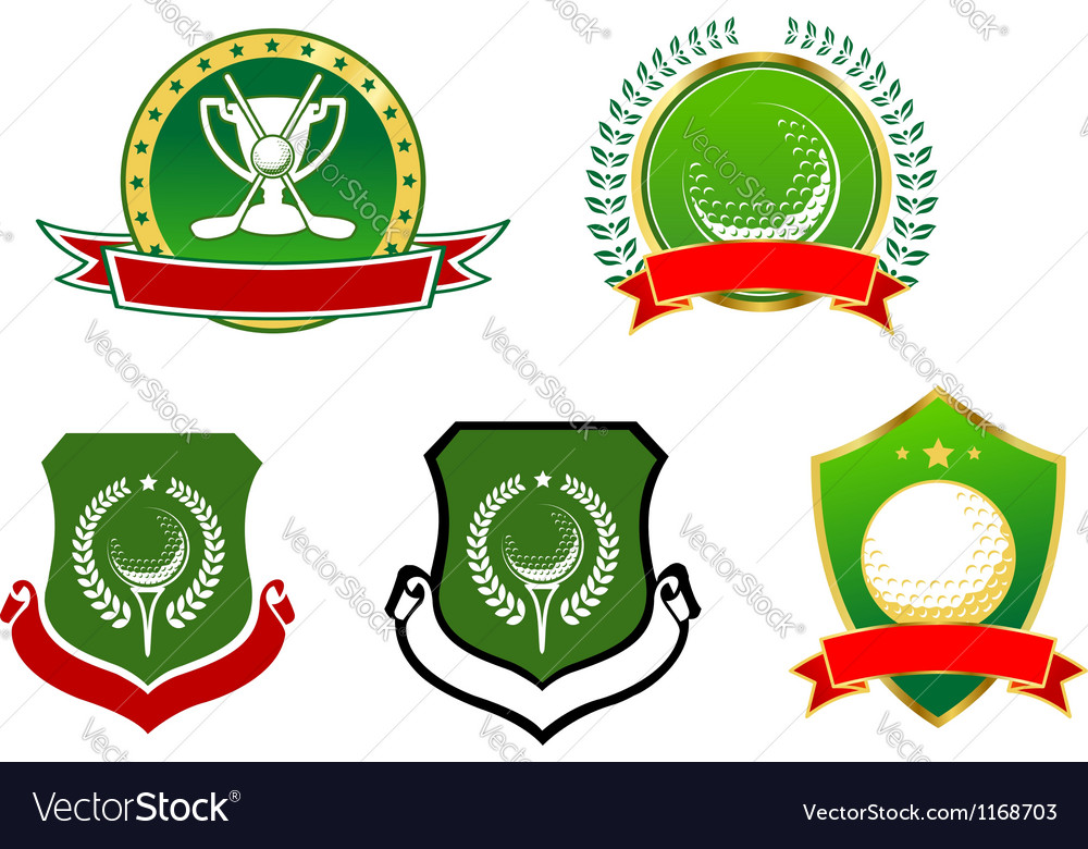 Golf sport icons emblems and signs vector