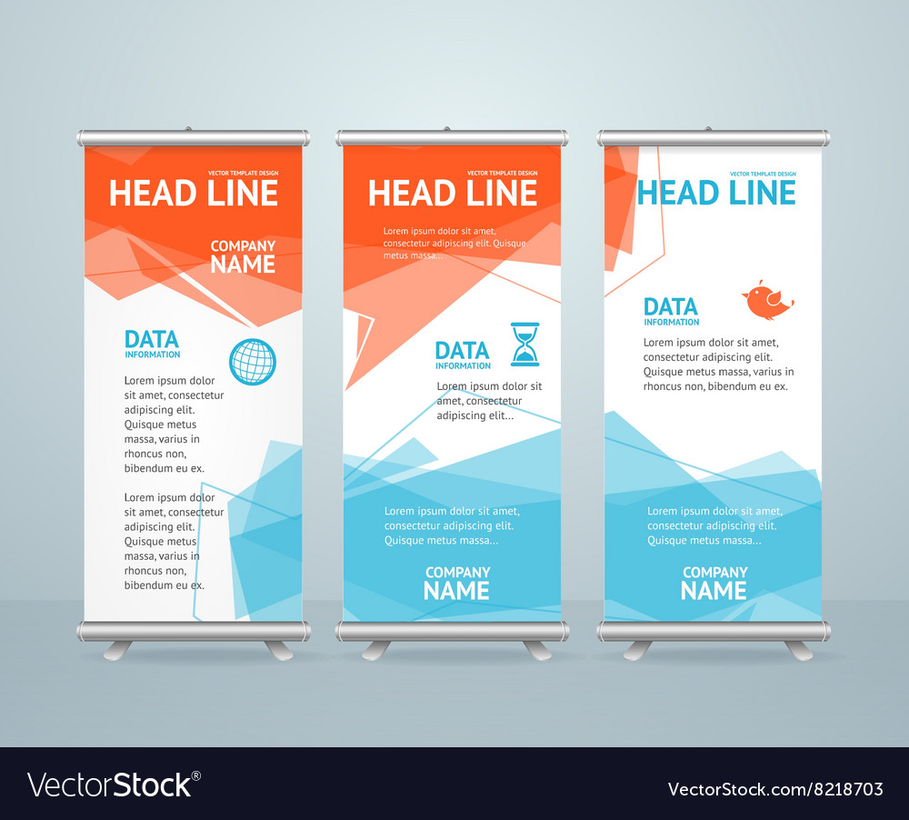 Roll up banner with colorful geometric bubble vector