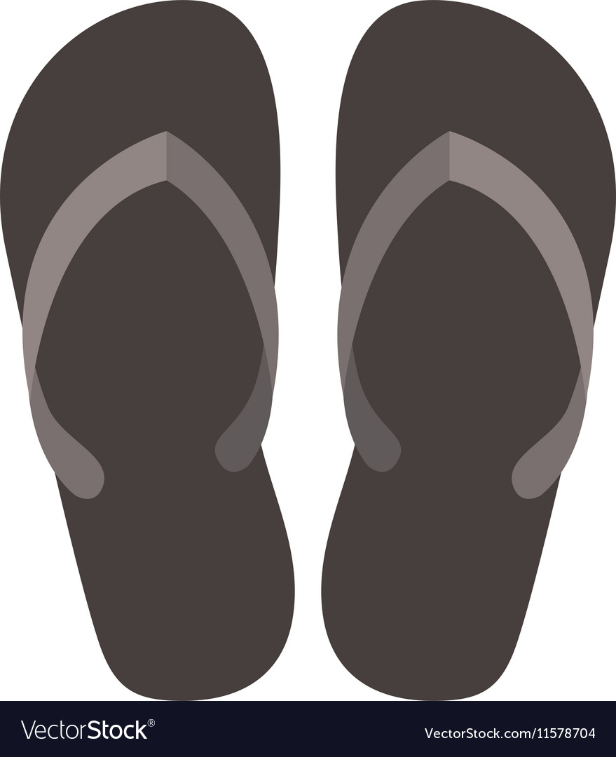 Silhouette beach flipflops with brown bottom vector