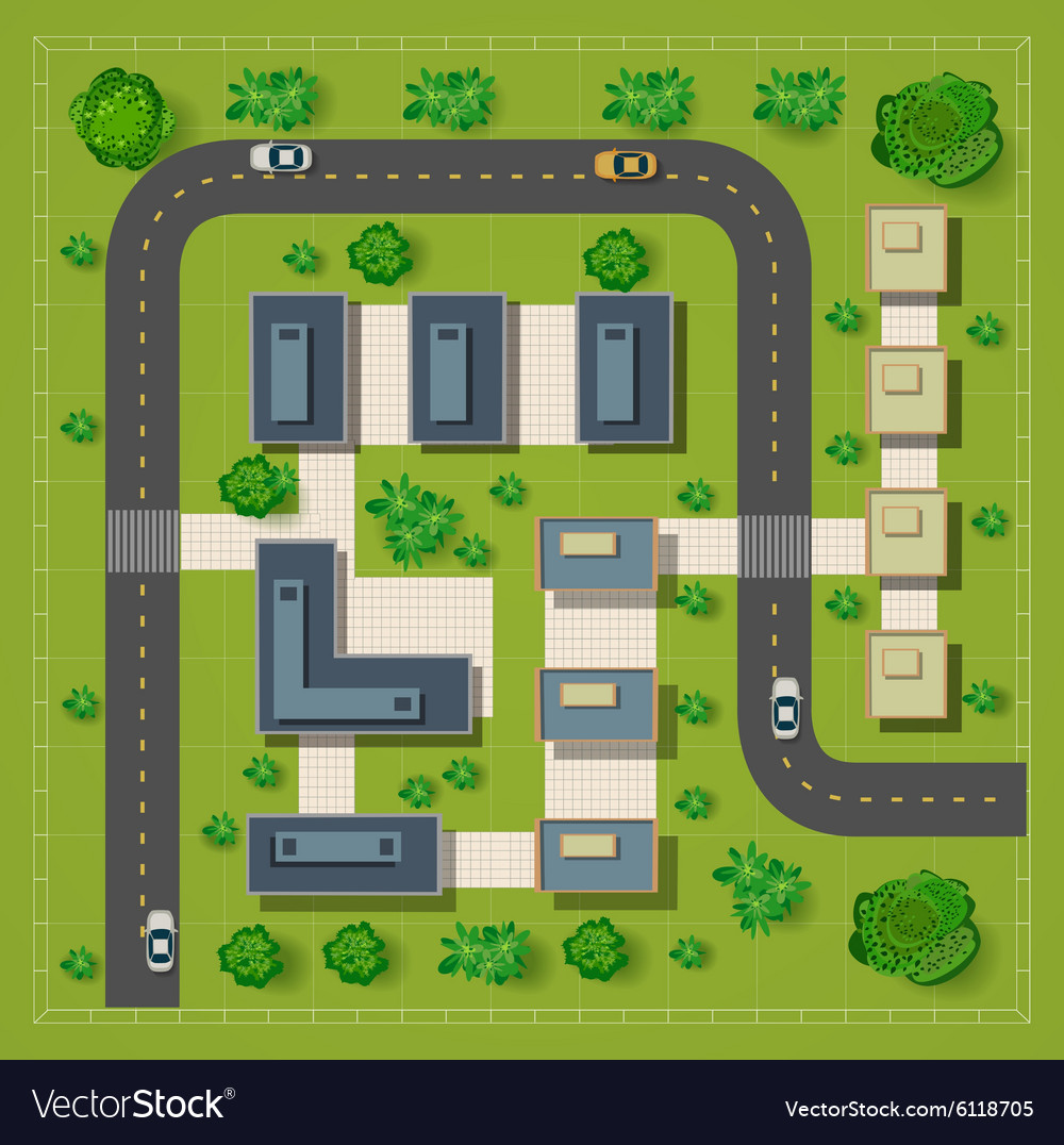Map of a top view from the rooftops vector