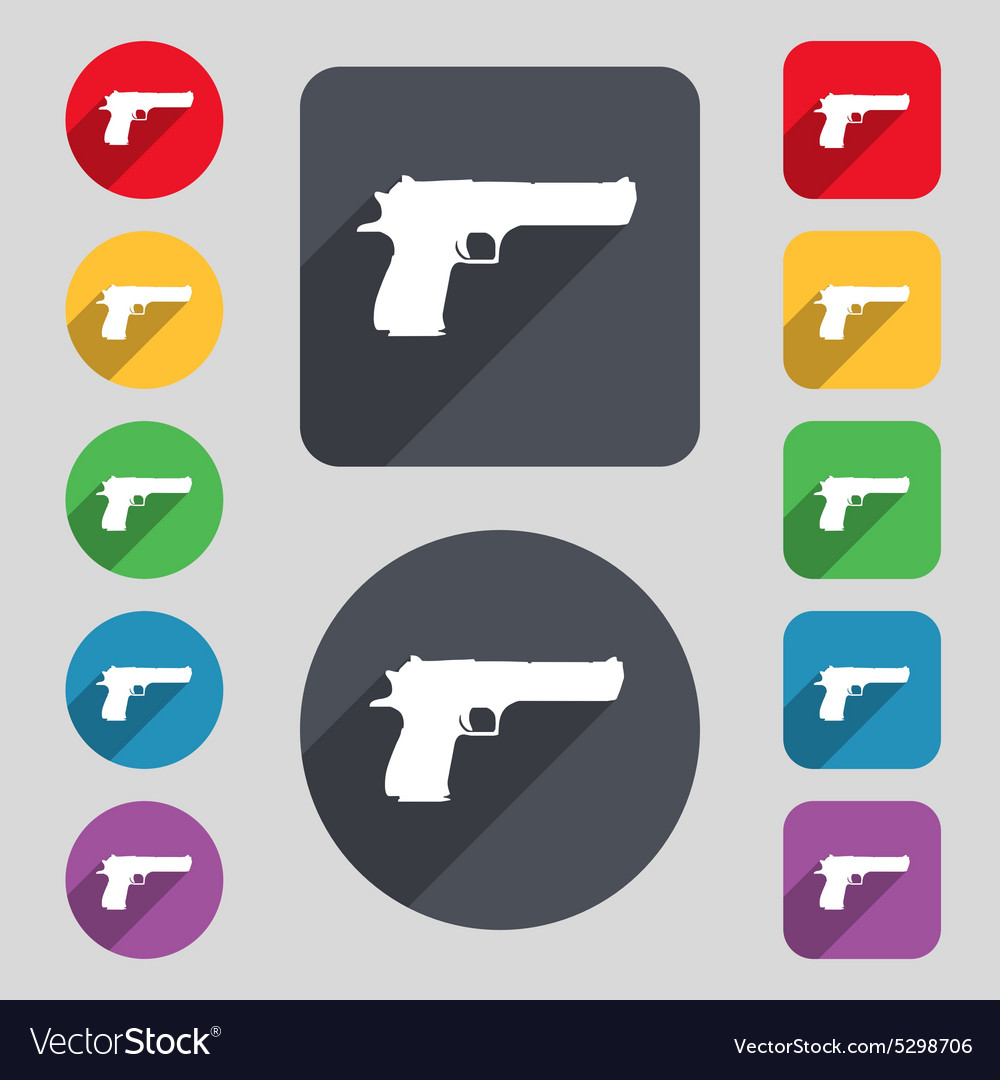 Gun icon sign a set of 12 colored buttons and a vector