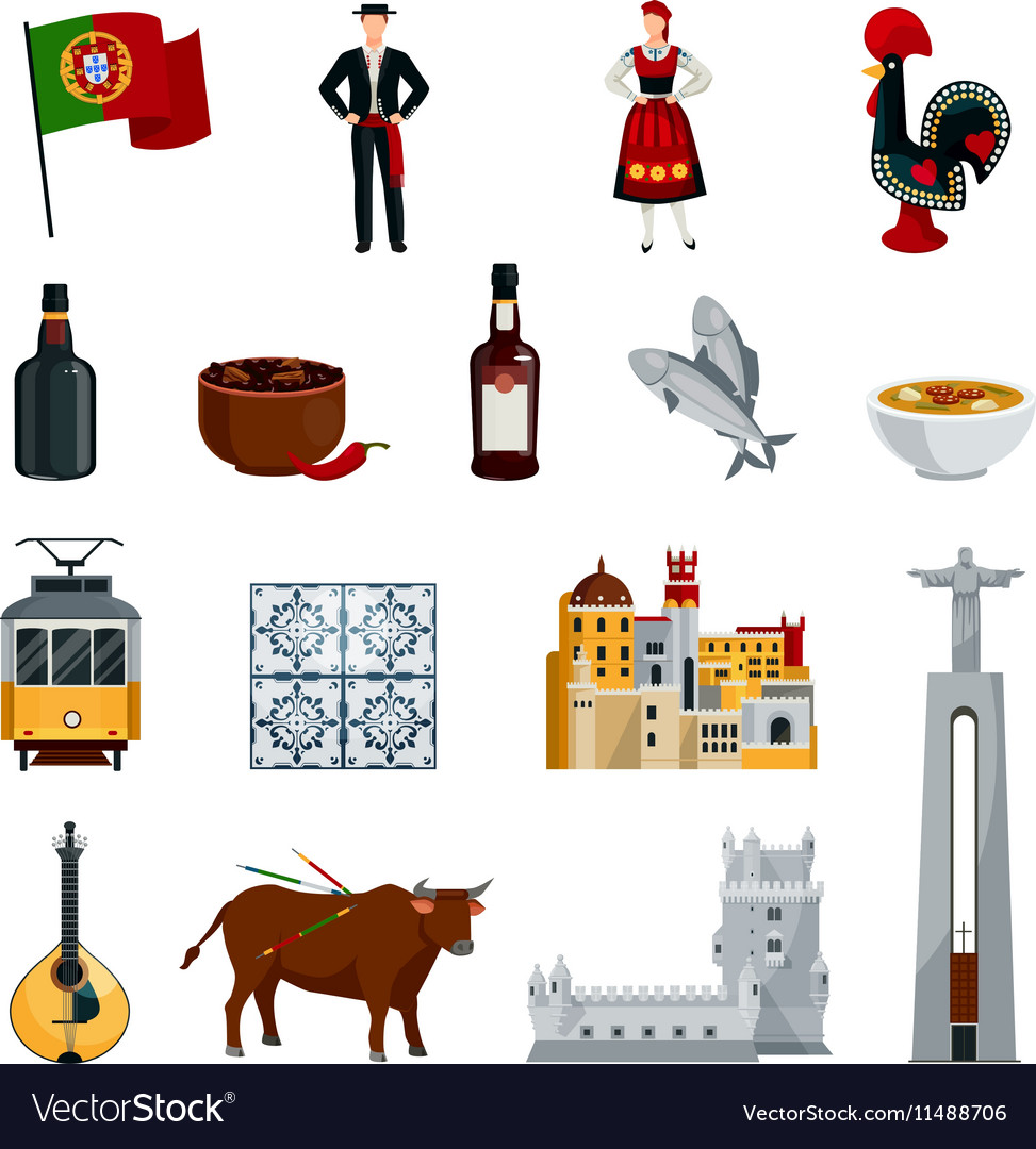 Portugal icons flat set vector
