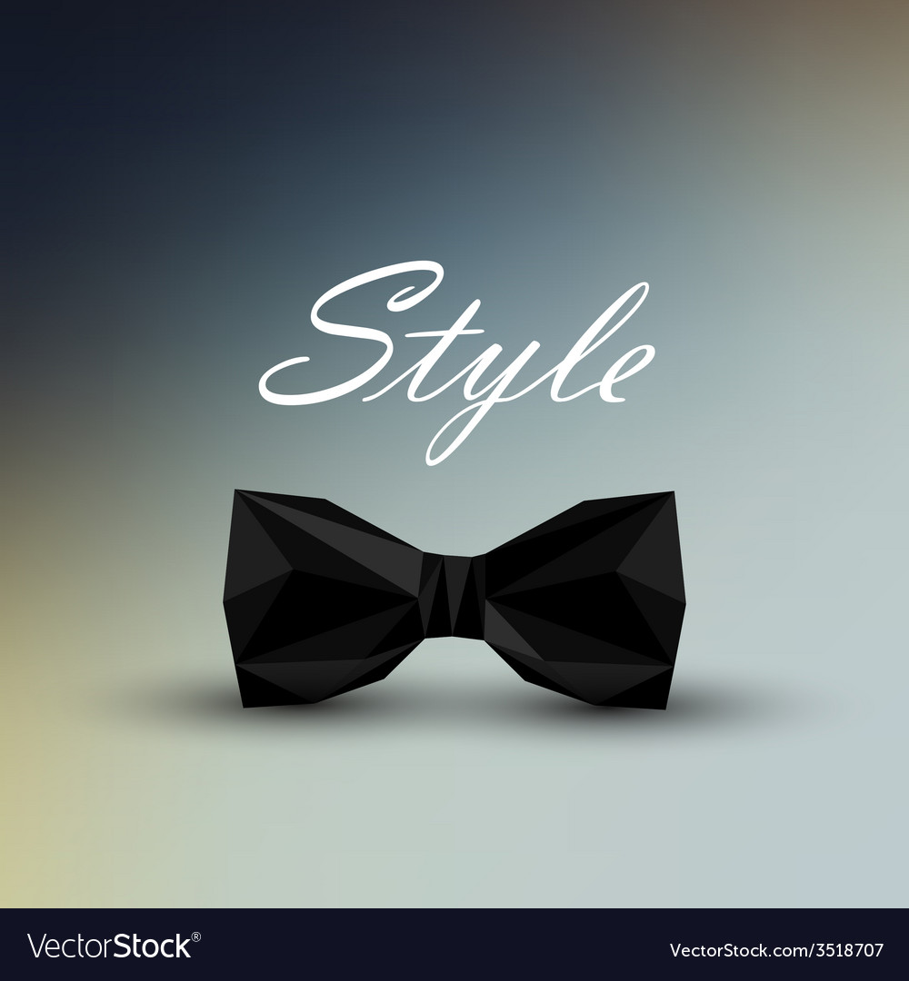 A black bow tie in lowpolygonal style men fashion vector