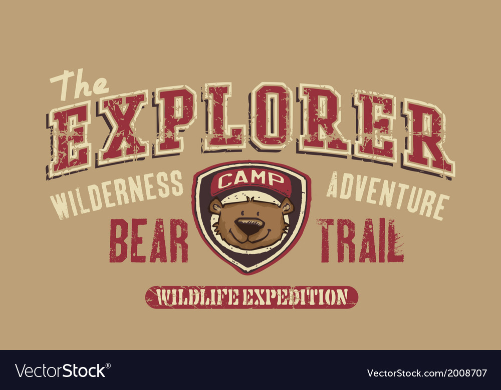 Bear trail outdoor adventure vector