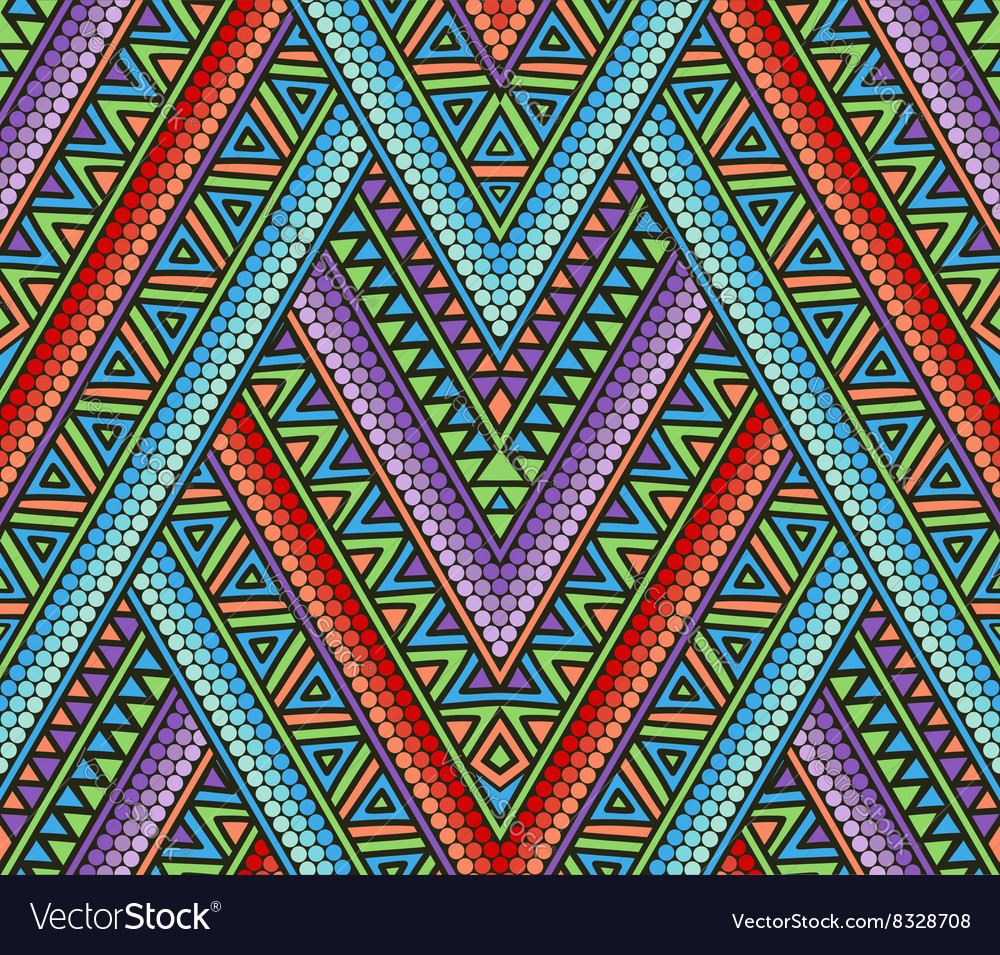 Abstract seamless pattern with ethnic ornament vector