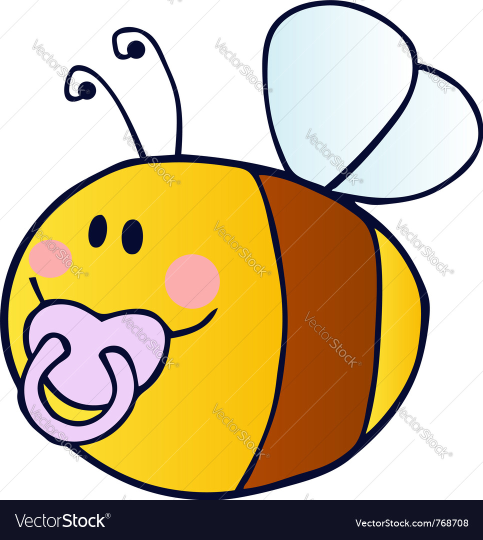 Pudgy baby bee with a pacifier vector