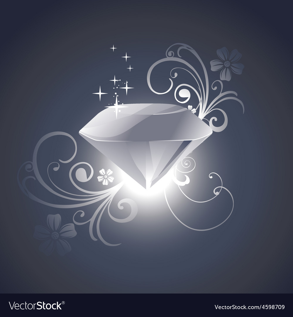 Diamond with florals vector