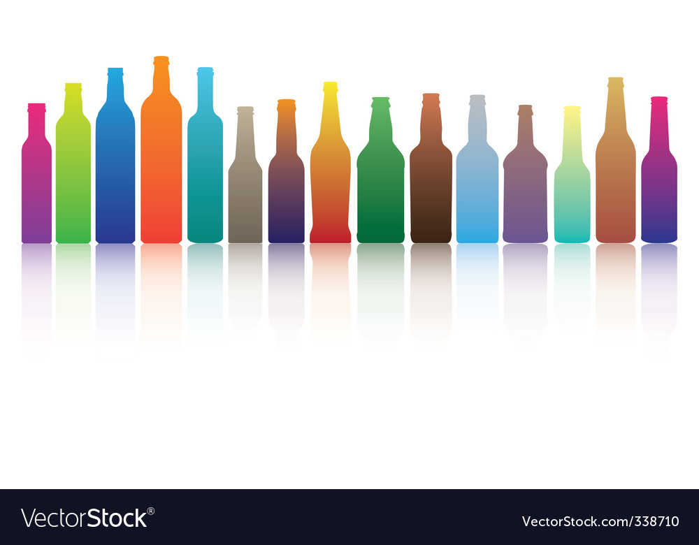 Color bottles vector