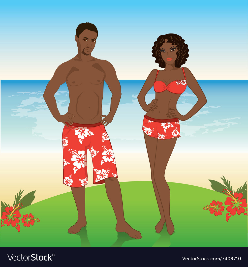 Man and woman in beach shorts on the beach vector