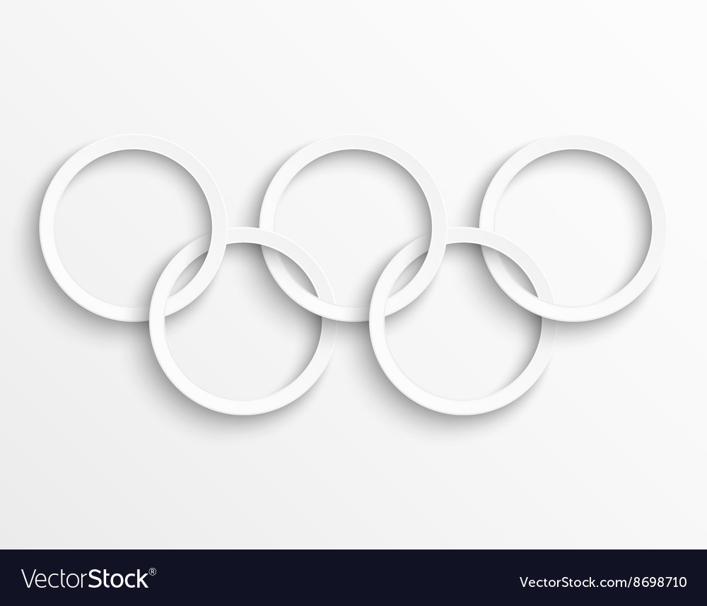 White circles background rings with drop shadow vector