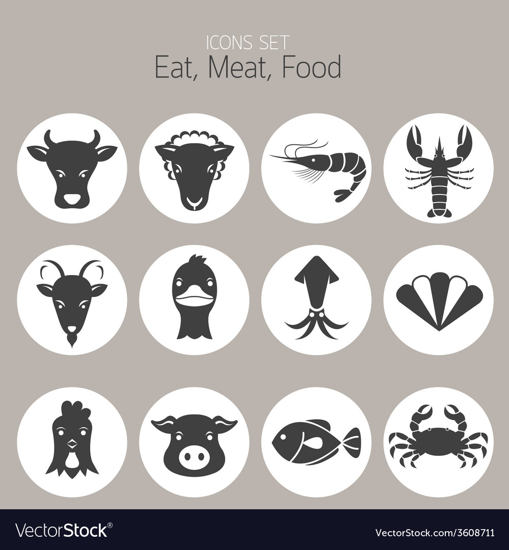 Animal meat seafood and eating icons set vector