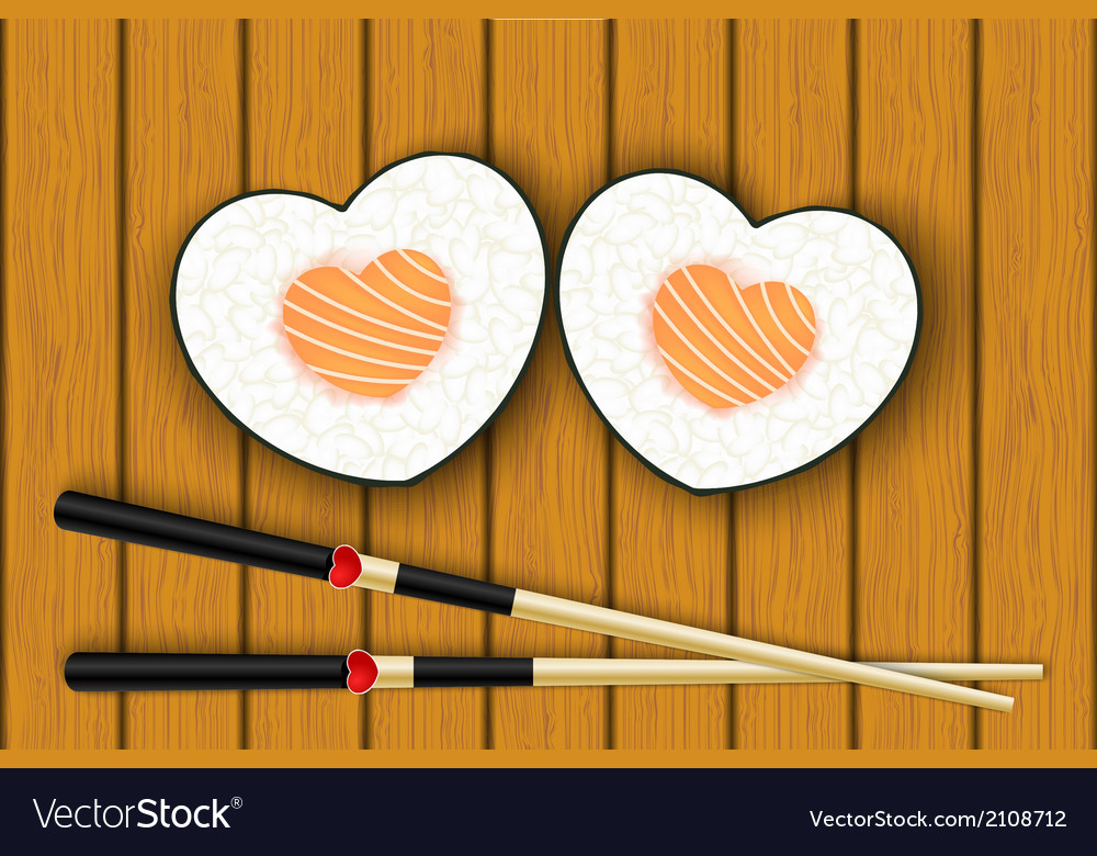 Heartshaped sushi and chopsticks vector