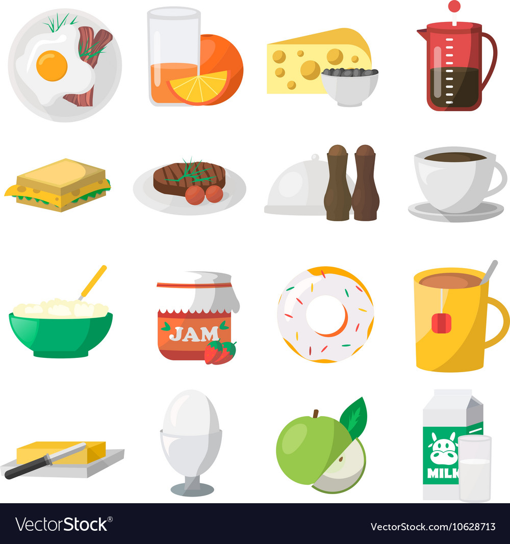 Breakfast colorful icons vector